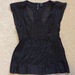 Mango black baby doll blouse